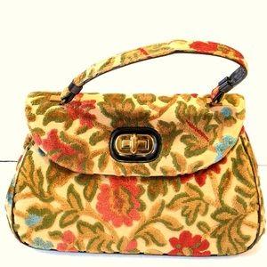 Vintage carpet tapestry chenille floral bag